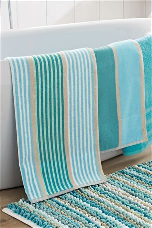 Buy Teal Stripe Towel From The Next Uk Online Shop Teal Bathroom