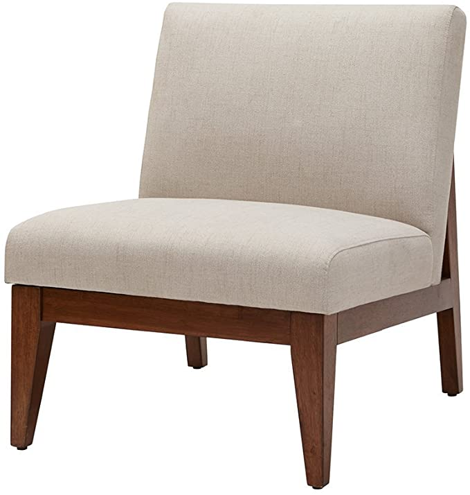 Amazon Com Kari Slant Back Wood Accent Chair Cream See Below Home Kitchen In 2020 Upholstered Chairs Accent Chairs Chair