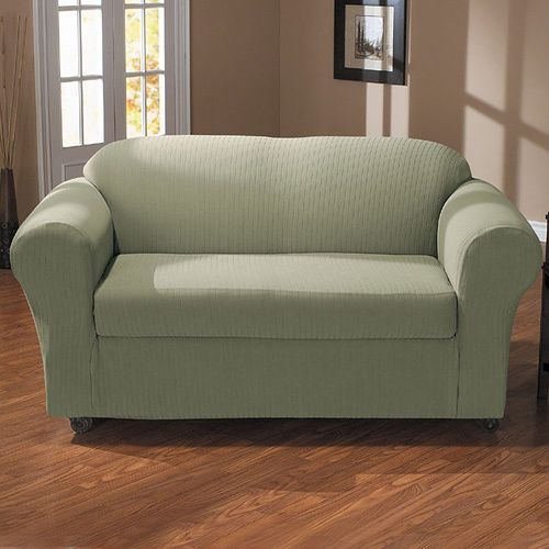Remarkable Sure Fit Spencer 2 Piece Stretch Loveseat Slipcover Sage Dailytribune Chair Design For Home Dailytribuneorg