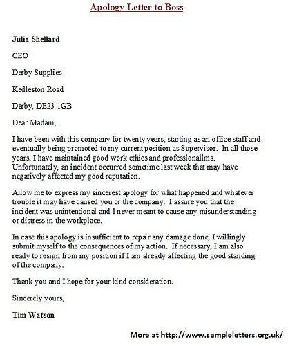 17 migliori idee su Sample Of Business Letter su Pinterest – Letter of Apology to Boss