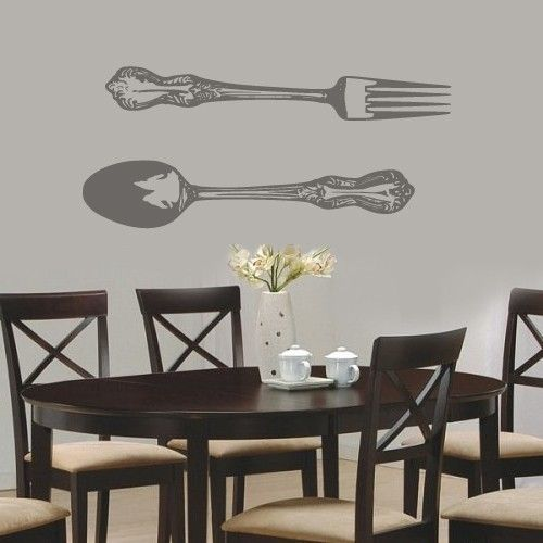 Big Fork And Spoon Vinyl Wall Decal Decor Household Words Dining - Custom vinyl wall decals for dining room