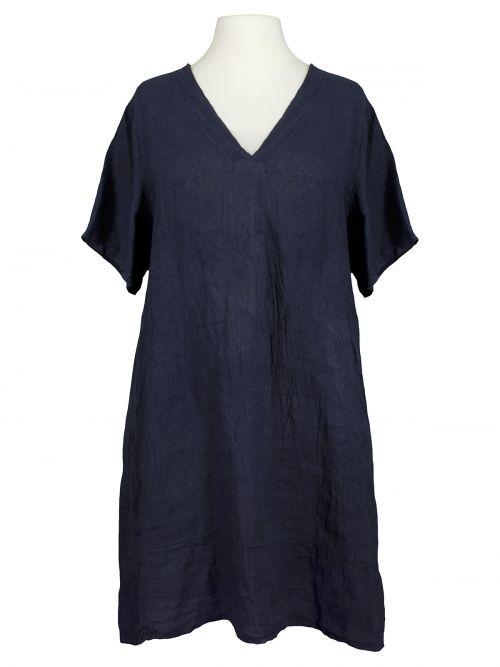 damen tunika kleid leinen, dunkelblau von made in italy
