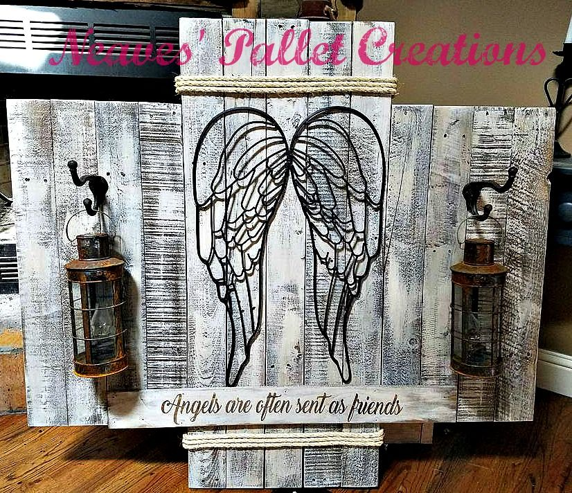 RECYCLED PALLET WOOD Rustic Pallet Angel Wing