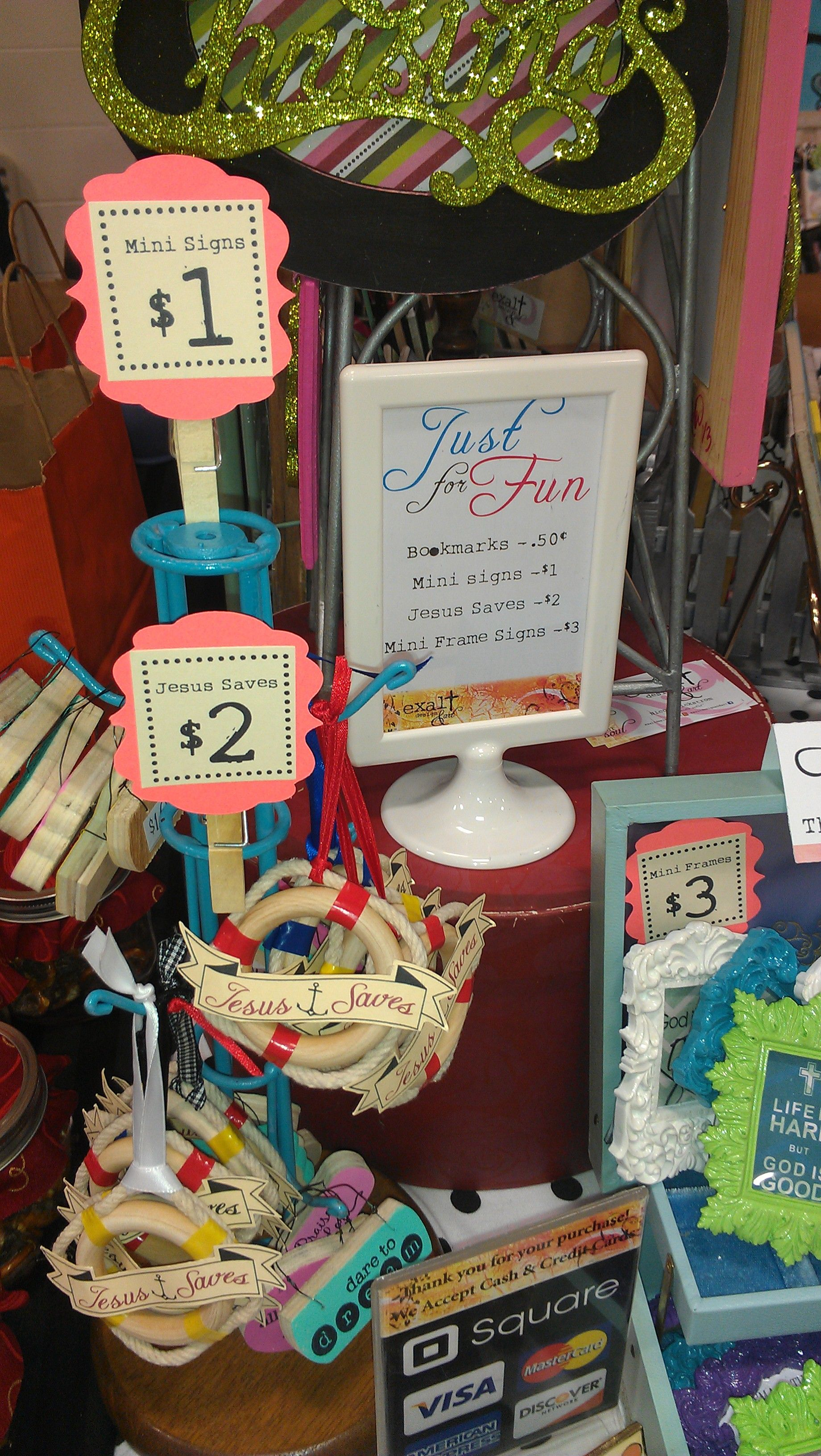 Frugal craft fair display idea use old mug holders for Price tags for craft shows