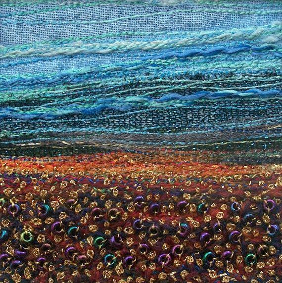 Autumn landscape  stitched beaded card  fabric by StitchMikki