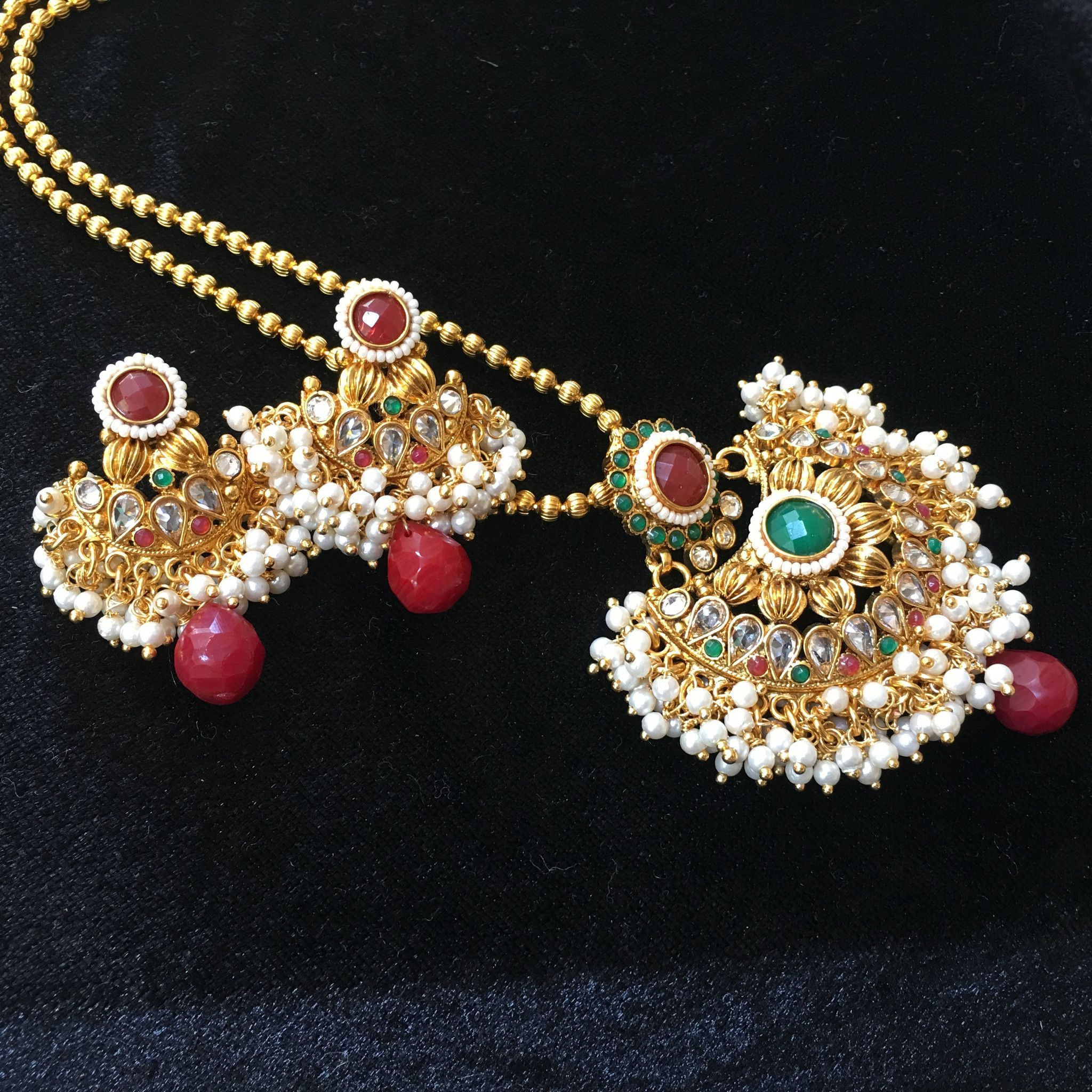 Moti pendant with red and white stones anil pinterest