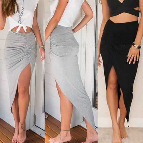 New Fashion Womens Ladies Ruched Side Split Slim Skinny Slit Maxi Long Pencil Skirt New Arriving Wholesale Size 6-16