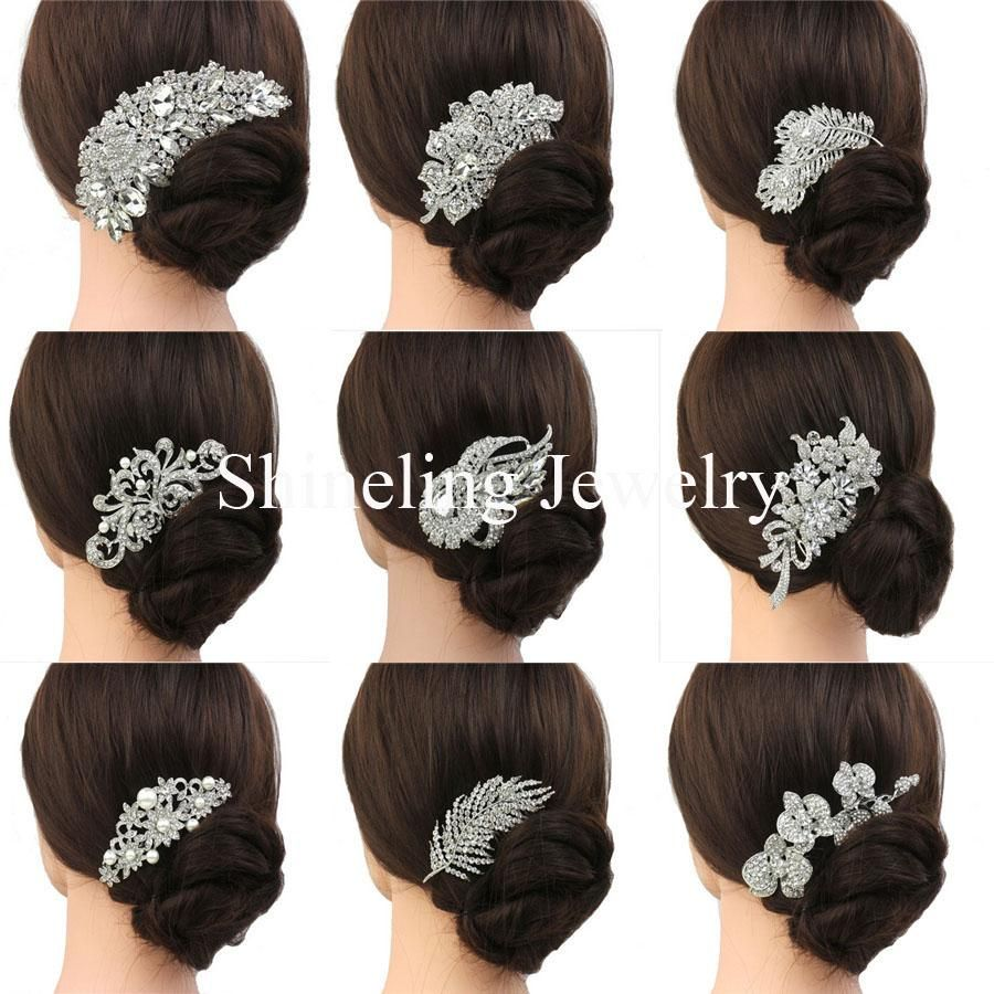 bridal hair comb wedding hair jewelry crystal hair piece
