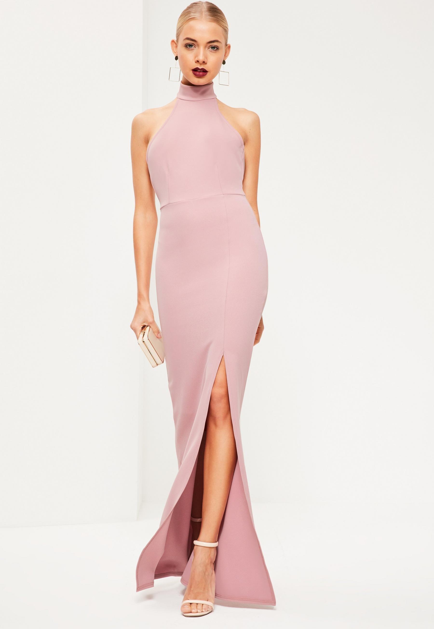 Missguided Pink Choker Maxi Dress
