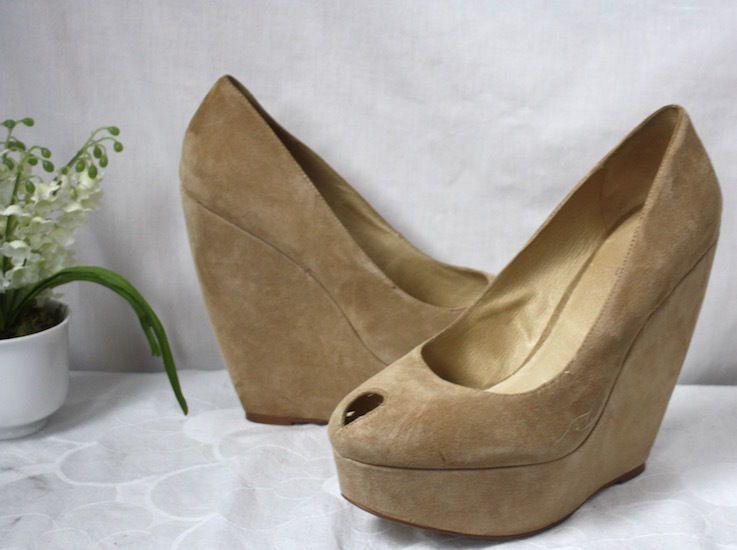 Aldo Womens Beige Suede Wedge Heel Platform Peep Toe Shoes Size 40 US 9 #ALDO #PlatformsWedges #Versatile
