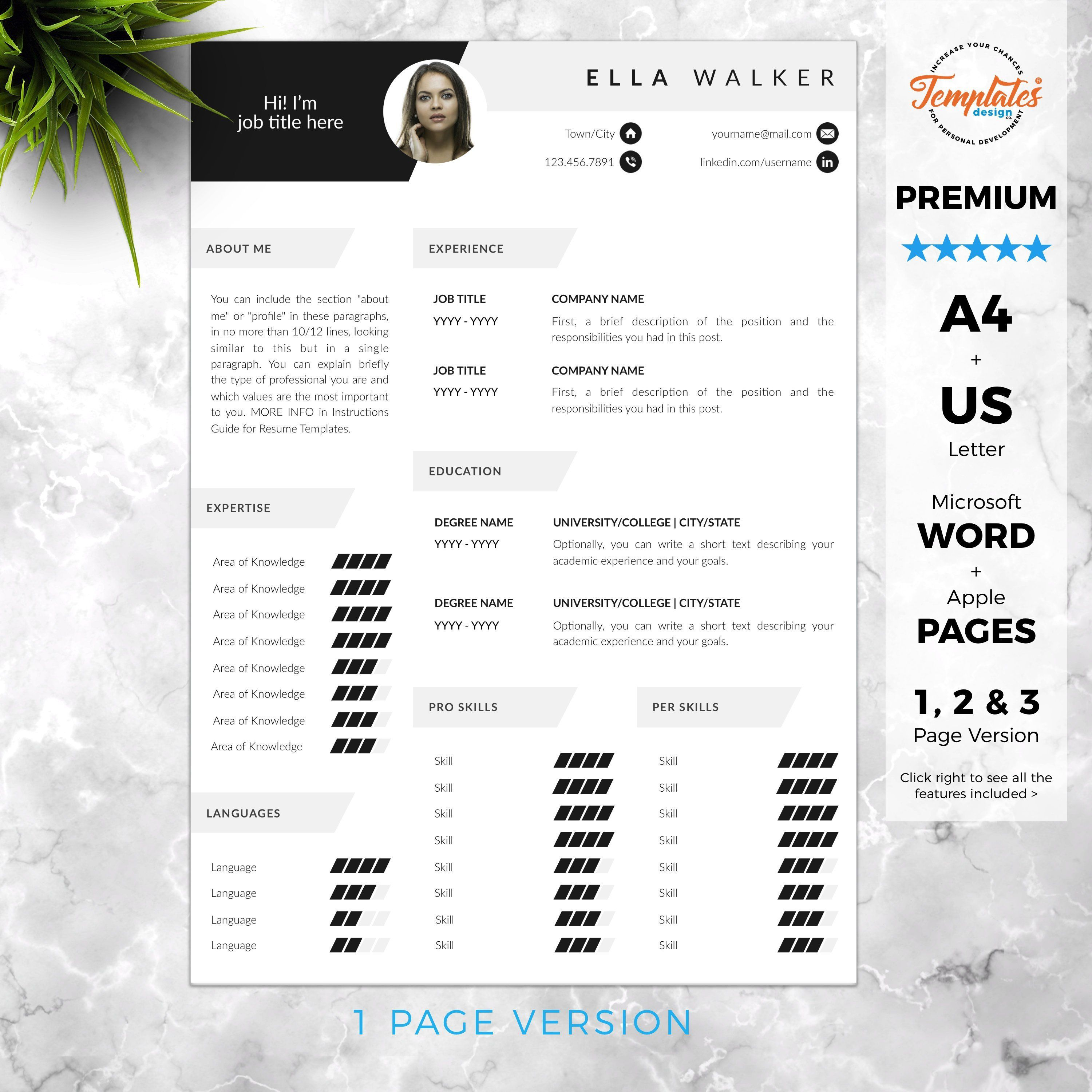Creative Cv With Photo Cover Modern Resume Design For Word Pages Best Resume Template Etsy One Two And Three Page Resume Design Best Resume Template Resume Template Resume Template Etsy