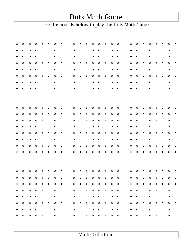 Dots Math Game -- Boards | New Math Worksheet Announcements ...