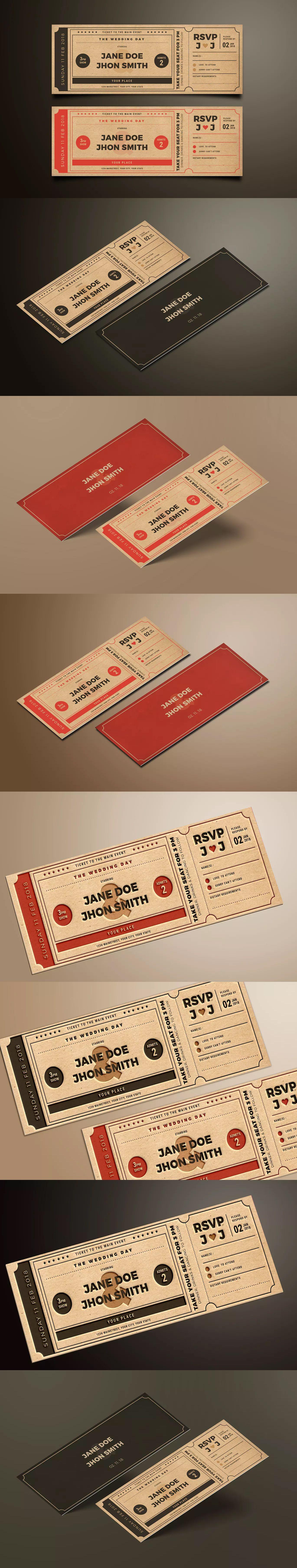 Wedding Invitation Movie Ticket Template AI PSD Invitation Card - Wedding invitation templates: wedding invitation ticket template