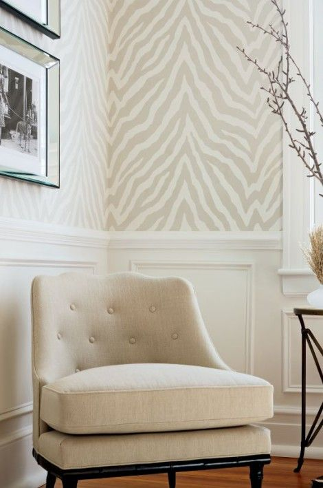 Thibaut 'Etosha Zebra Print' wallpaper and 'Brentwood Chair' from Thibaut Fine Furniture. Available at the D&D Building suite 615 #ddbny #thibaut # wallpaper ...