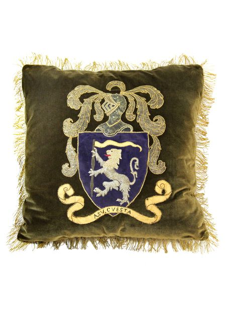 19th Century German Coat of Arms Pillow