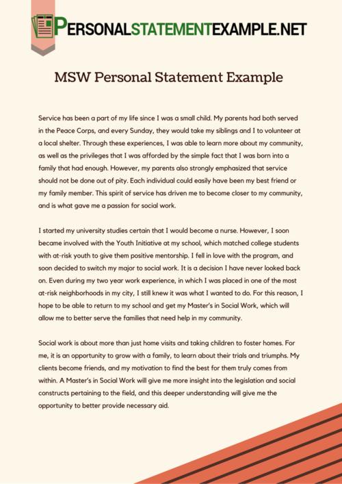 Grad school personal statement sample social work
