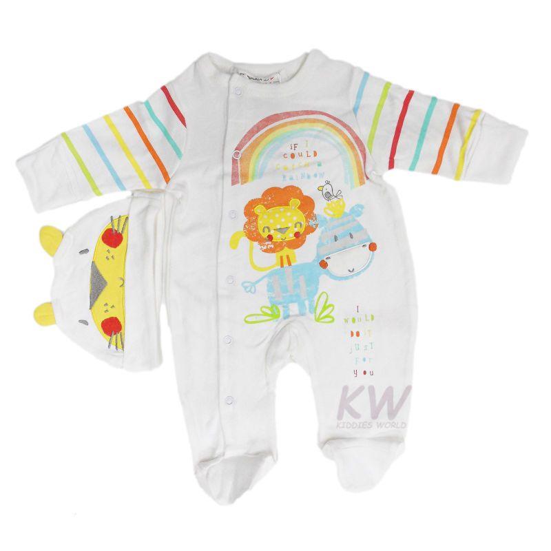 d84301620 Unisex Newborn Baby Boys Girls 2-Piece Babygrow Sleepsuit & Hat 3-6 ...
