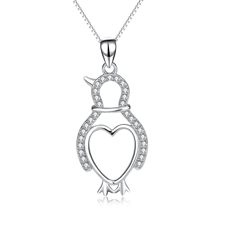 YFN Penguin Necklace 925 Sterling Silver Heart Love Blue Cubic Zirconia Pendant Necklace Pb1bv6FvH