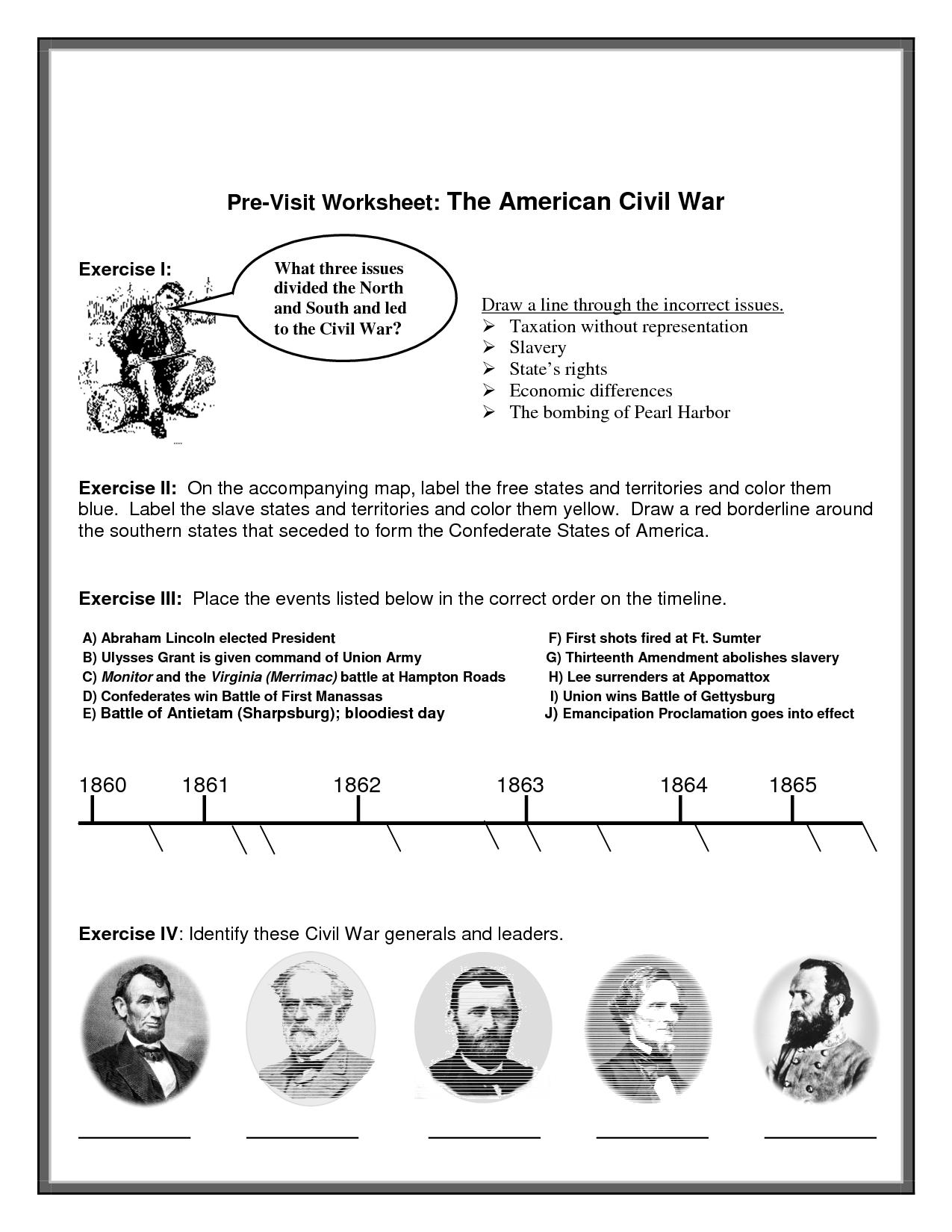 Civil War Printable Worksheets