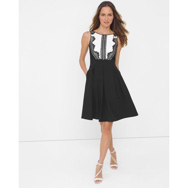 White House Black Market Lace Tuxedo Fit-and-Flare Dress ($126 ...