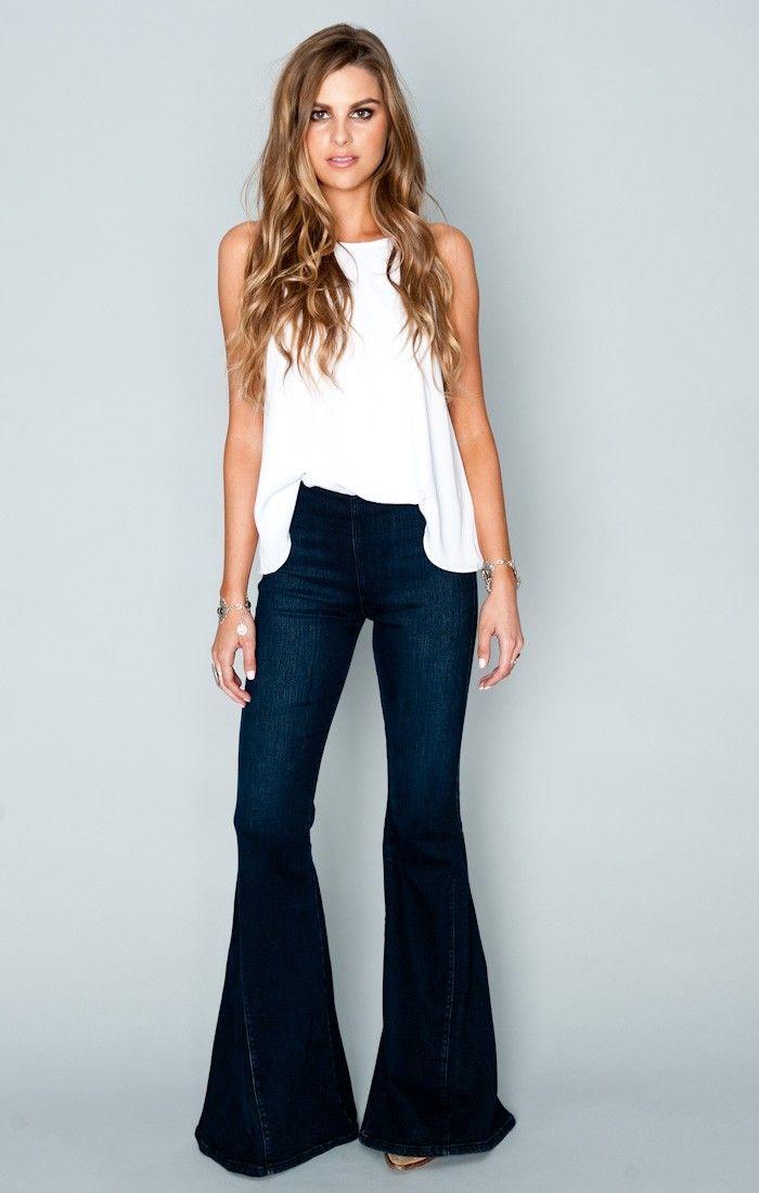 Calça Jeans Feminina Flare Sob Azul Escuro Cintura Alta