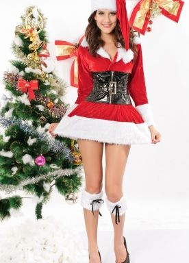 7dc147aeb9 Sexy Womens Christmas Story with Red Corset Santa Costume