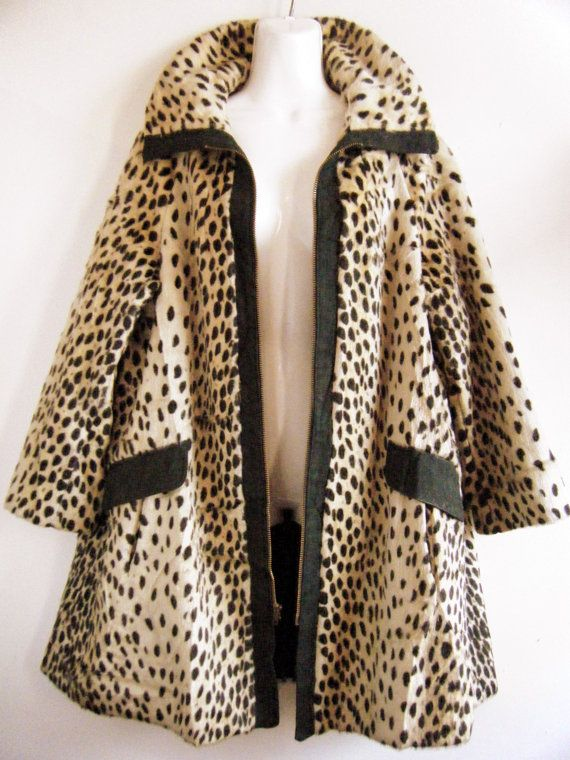 1960s Modela Faux Fur Jaguar Print Swing Coat W Leather Trim And Front Tie 1stdibs Sale Big Discount cviCBk