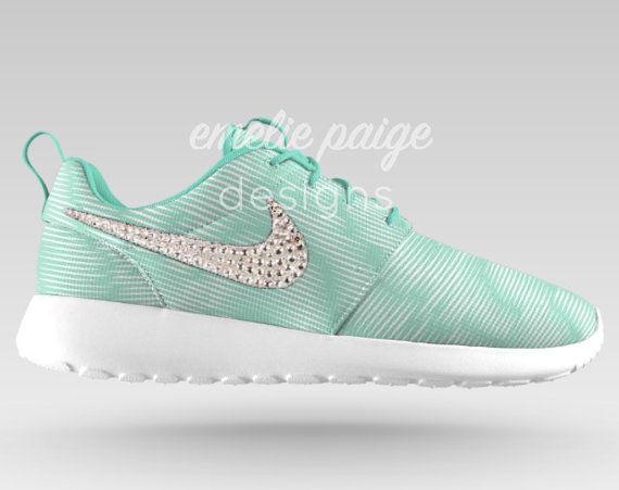 5c0063f026e3 Custom Nike Roshe Run Mint White Print by EmeliePaigeDesigns