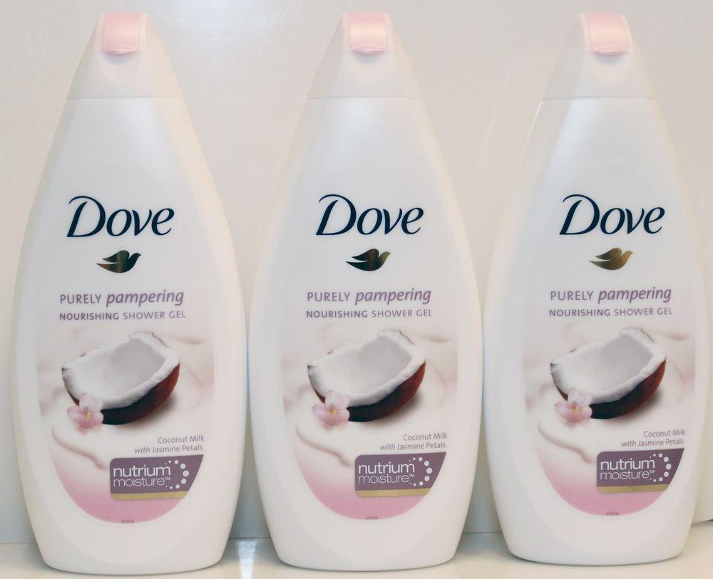 3 Dove Purely Pampering Nourishing Shower Gel Coconut Milk With Jasmine Petals Shower Gel Body Skin Care Body Care