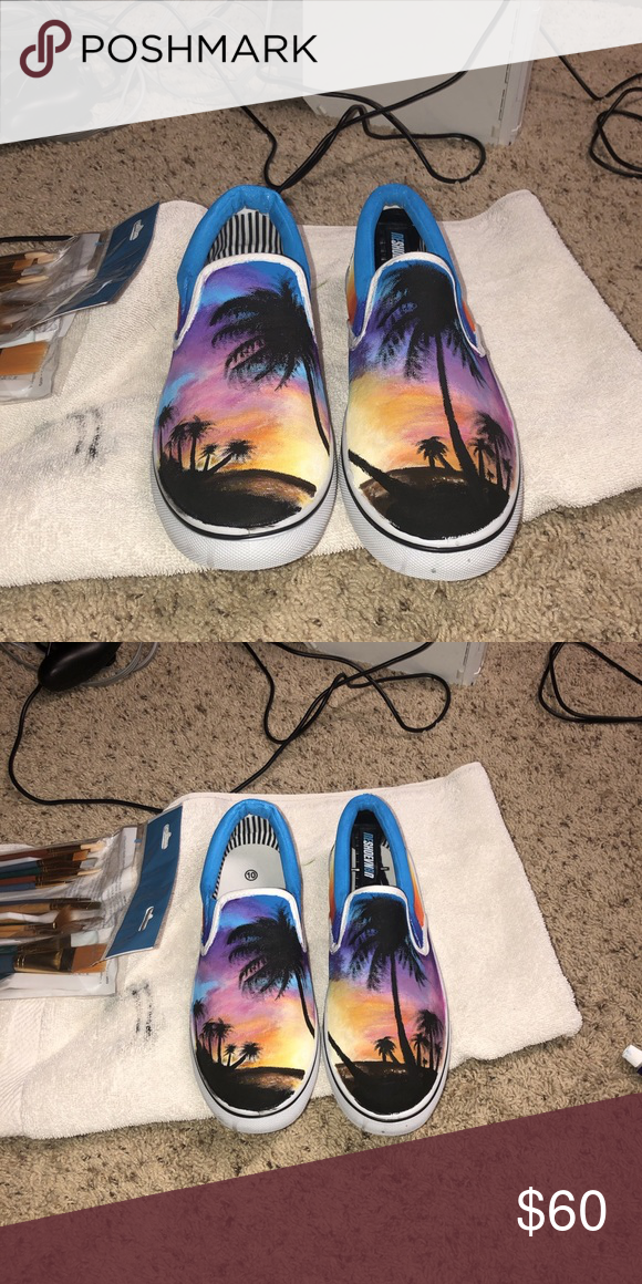 Hand painted canvas slip on shoe Size 10 (also comes in size