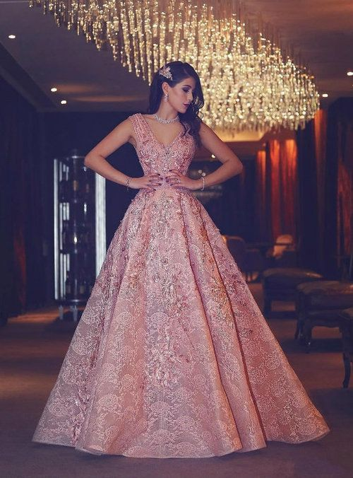 864ec07626 Silhouette A-line Hemline floor length Neckline V-neck Fabric lace Sleevee  Style sleeveless Embellishment appliques Shown color pink