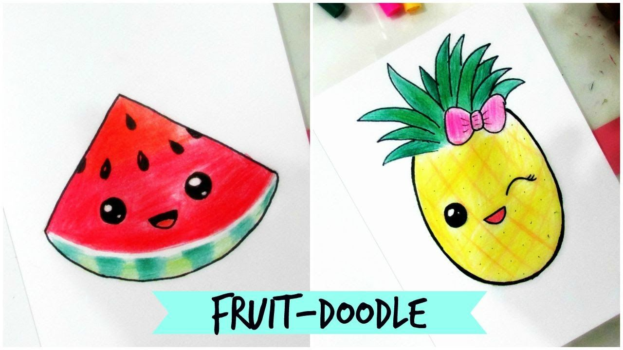 How To Draw Cute Fruit Doodle Part 2 Youtube Fruit Doodle Simple Doodles Kids Doodles