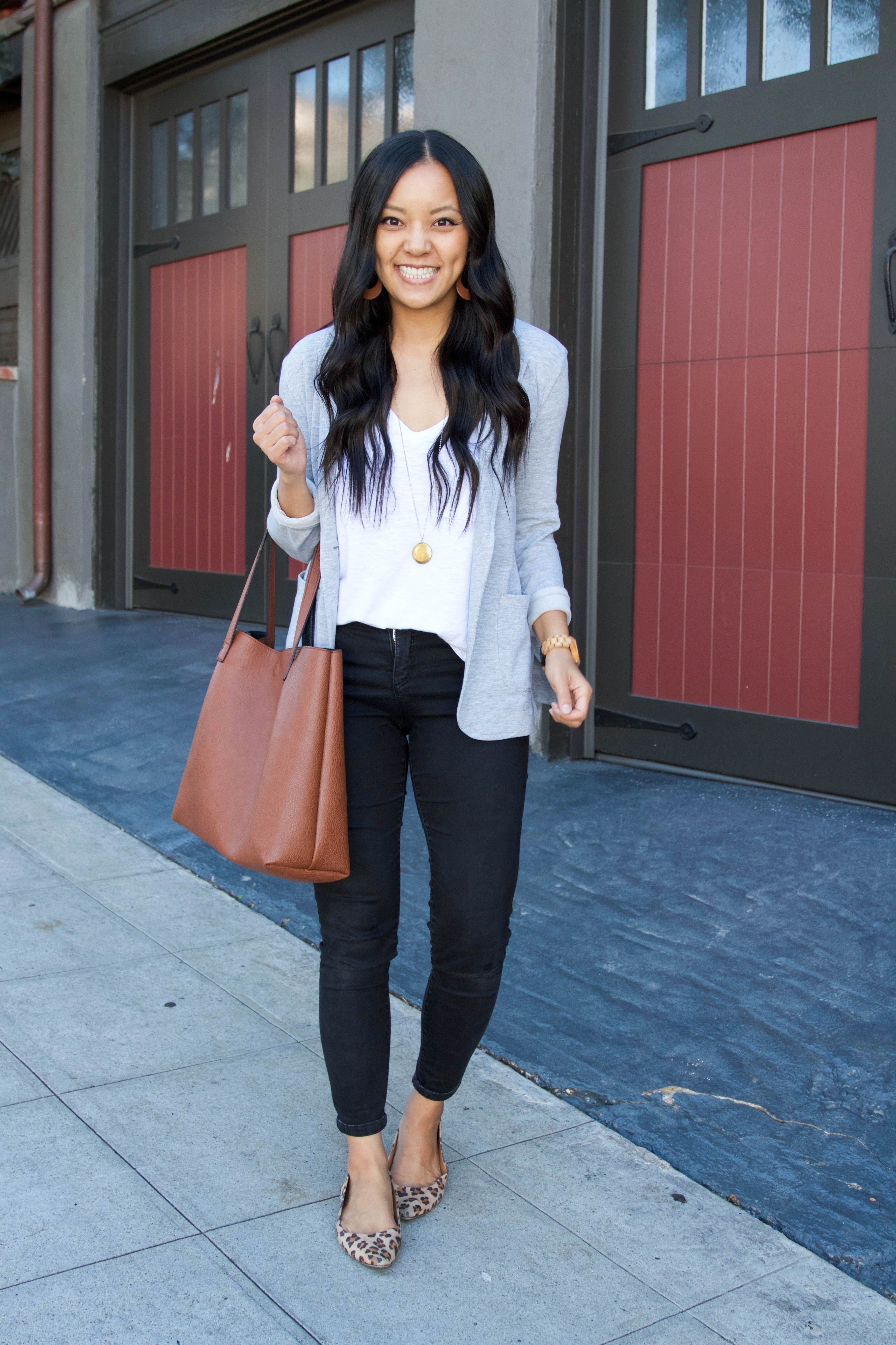 ea83c23a3d Gray Blazer + Leopard Flats + Black jeans + Tote + White Tee