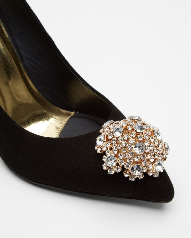Suede Brooch Detail Court Shoes - Black