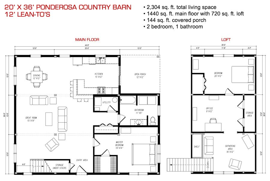 floor plan pre designed ponderosa country barn home kit