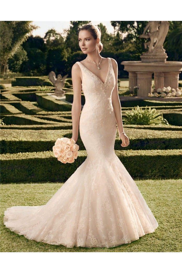 Fitted Trumpet Mermaid V Neckline And Back Lace Beaded Crystal ...
