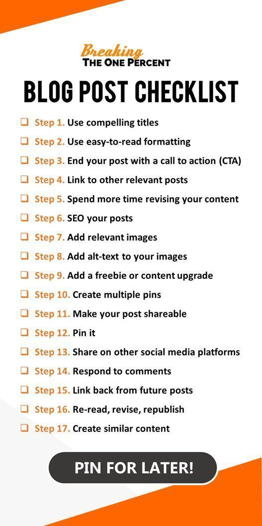 17 Steps to the Perfect Blog Post (Blog Post Checklist Printable Included) #articlesblog