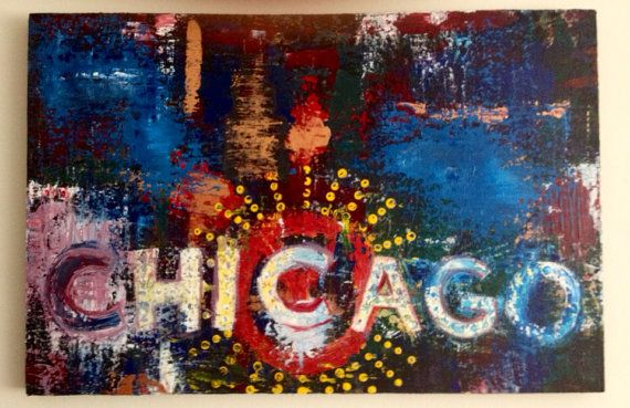 Original Acrylic Painting, Chicago, Chicago Theater, Abstract on Etsy, $500.00