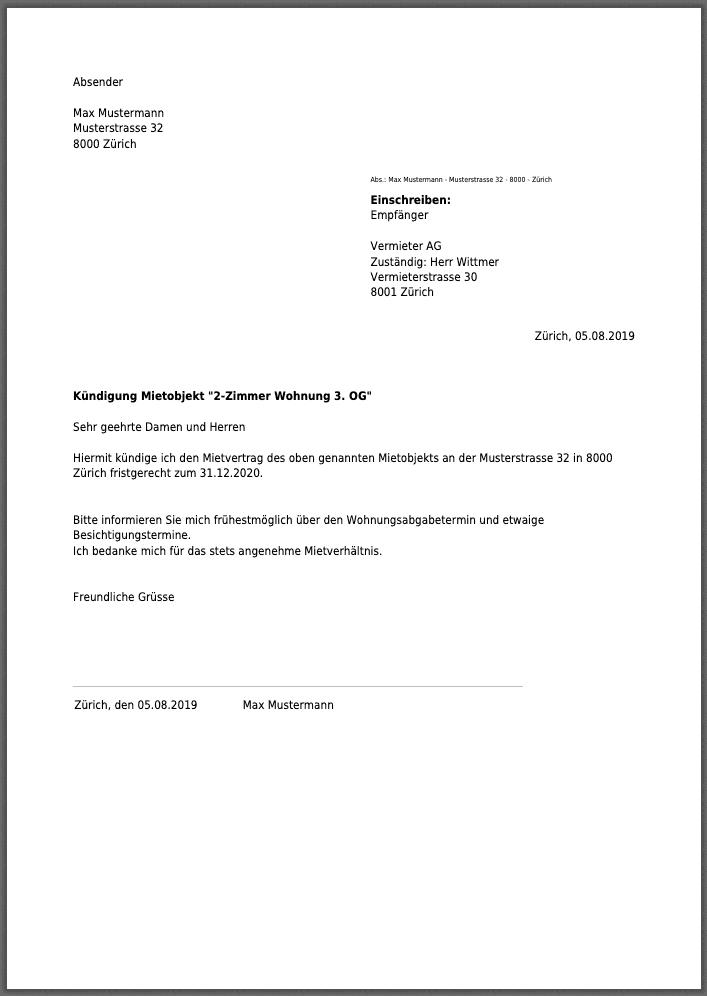 Wohnungskundigung Schweiz In 2020 Wohnungskundigung Kundigung Vorlagen