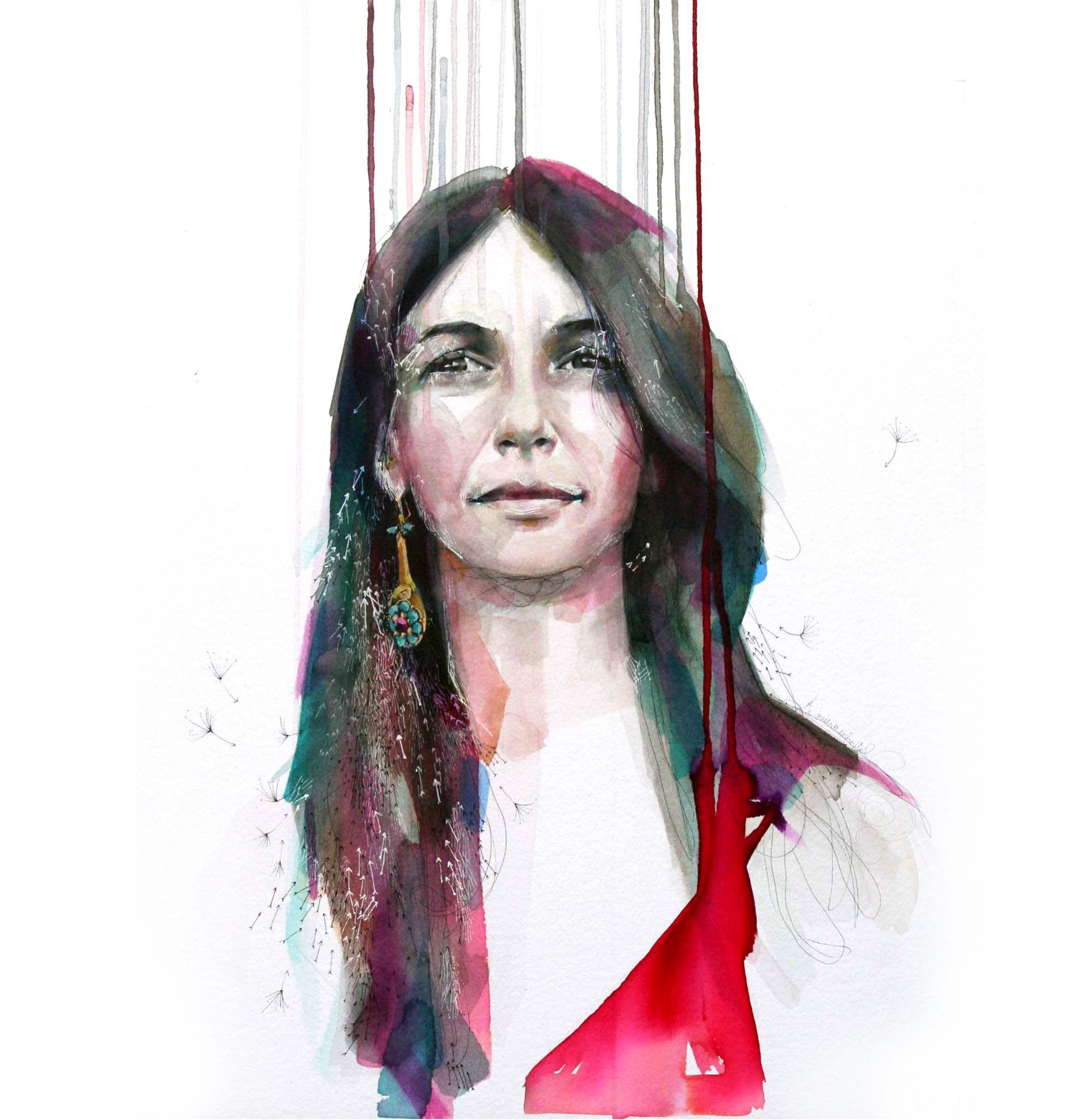 www.bertallonch.com  Retrato. Acuarela y rotulador