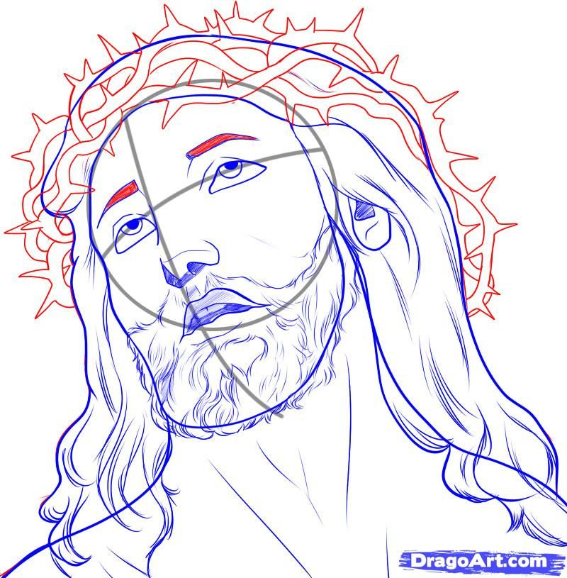 How to draw jesus step 6