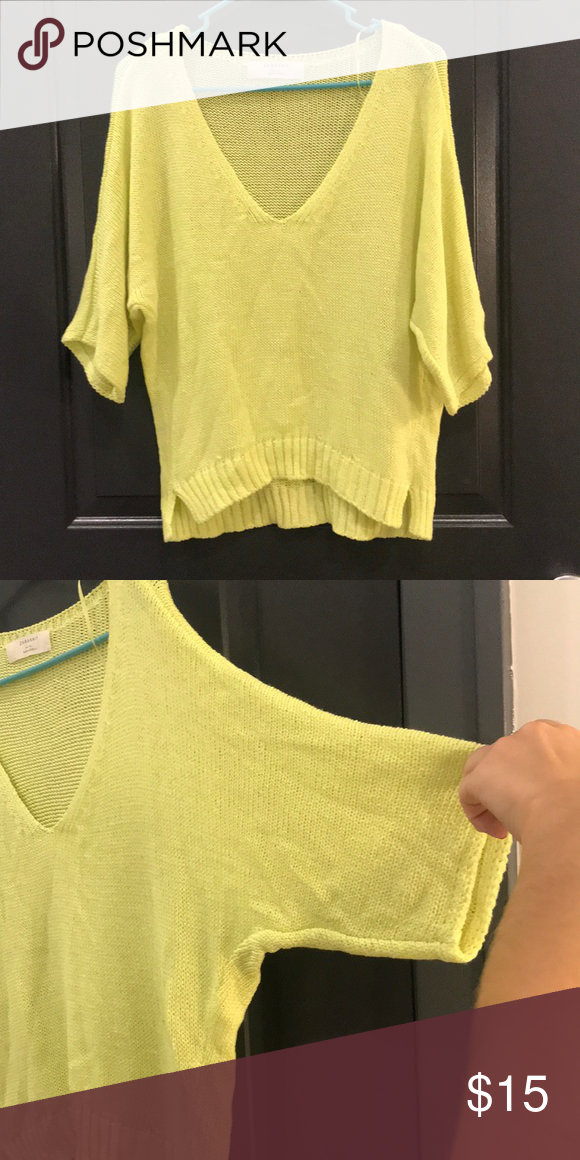 2a9ee7ce Zara knit sweater Yellow / green color Neon / bright (looks faded in photo  but it's the lighting) Loose fit V neck Size M Zara Zara Sweaters V-Necks