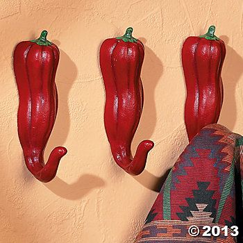 chilli pepper kitchen towels | Chili Pepper Hooks, Wall Art and ...