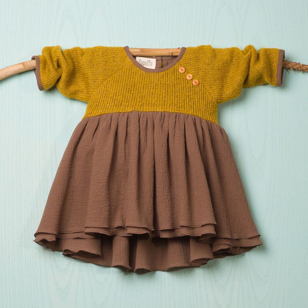 Vestido manga ranglan en lana ocre y bámbula marrón 2 capas
