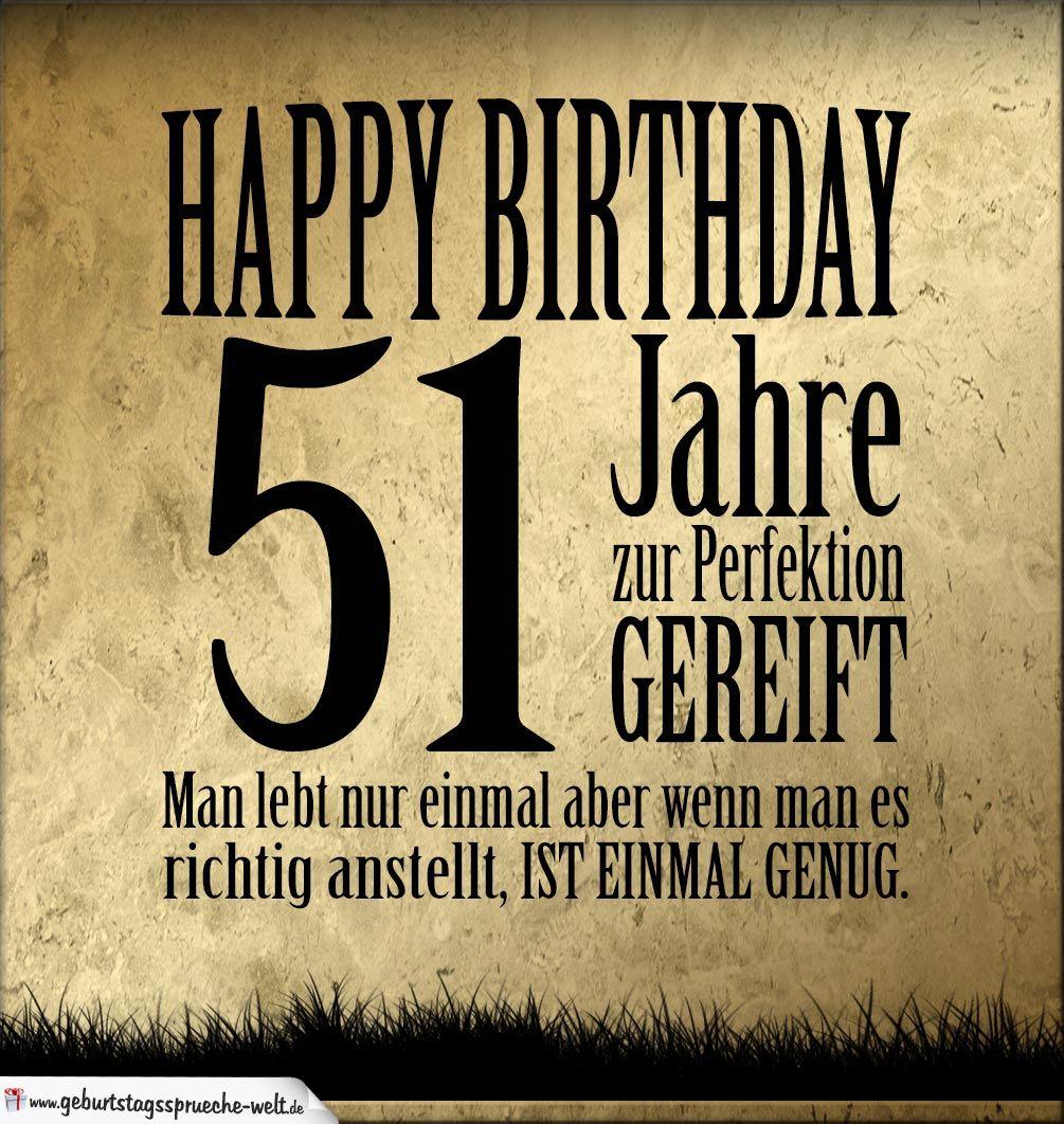 51. Geburtstag Retro Geburtstagskarte   Geburtstagssprüche Welt