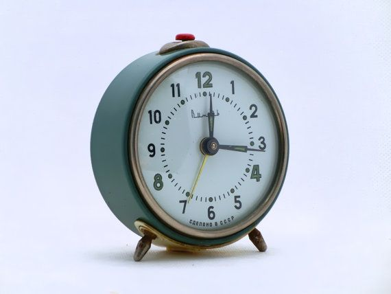 SUMMER SALE  Vintage alarm clock  green / blue by ArtmaVintage, $35.00