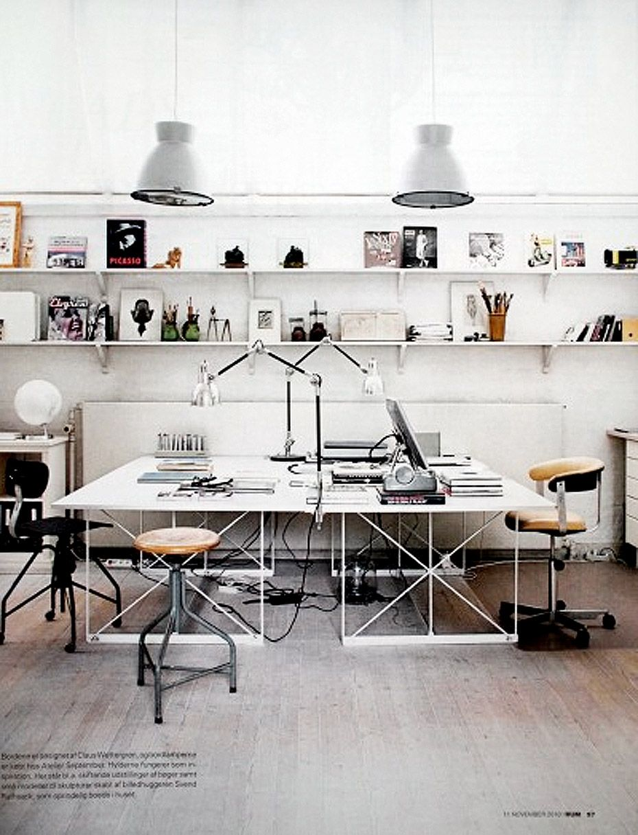 Inspiring studios and creative work spaces wall shelving for Creative office furniture ideas