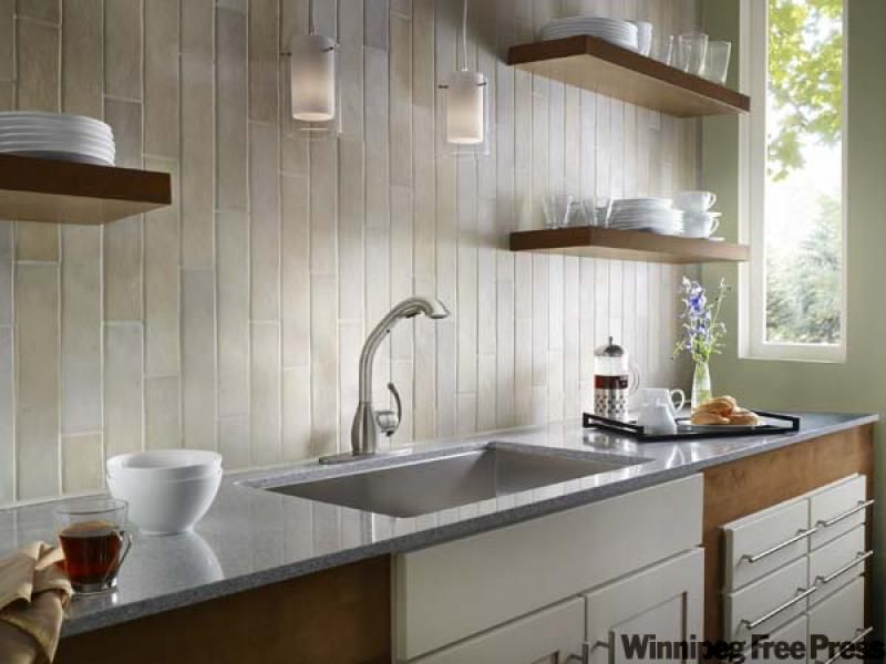 Backsplash ideas no upper cabinets the fusion kitchen for Kitchen designs by decor winnipeg