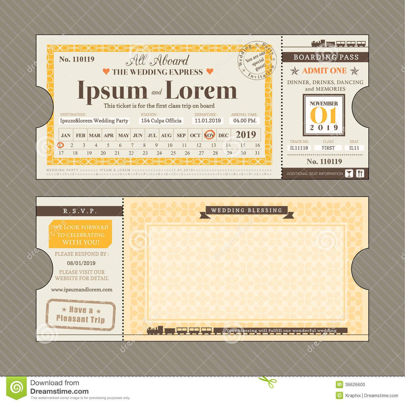 Vector Train Ticket Wedding Invitation Design Template Download