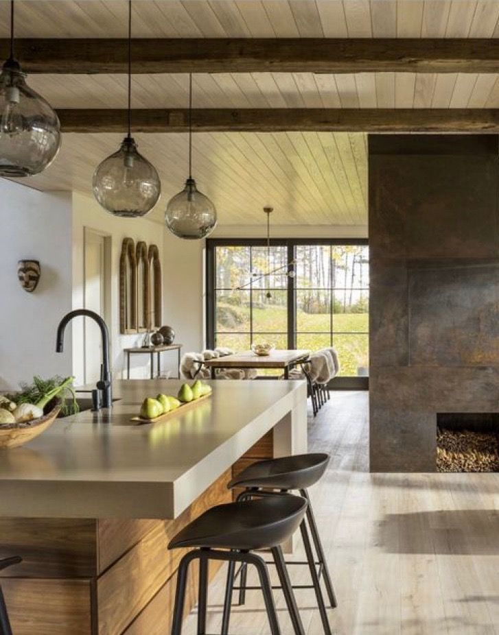 Photo of Fireplace | Kitchen island | Interior design #modernlightingdesign fireplace | Küchenins …